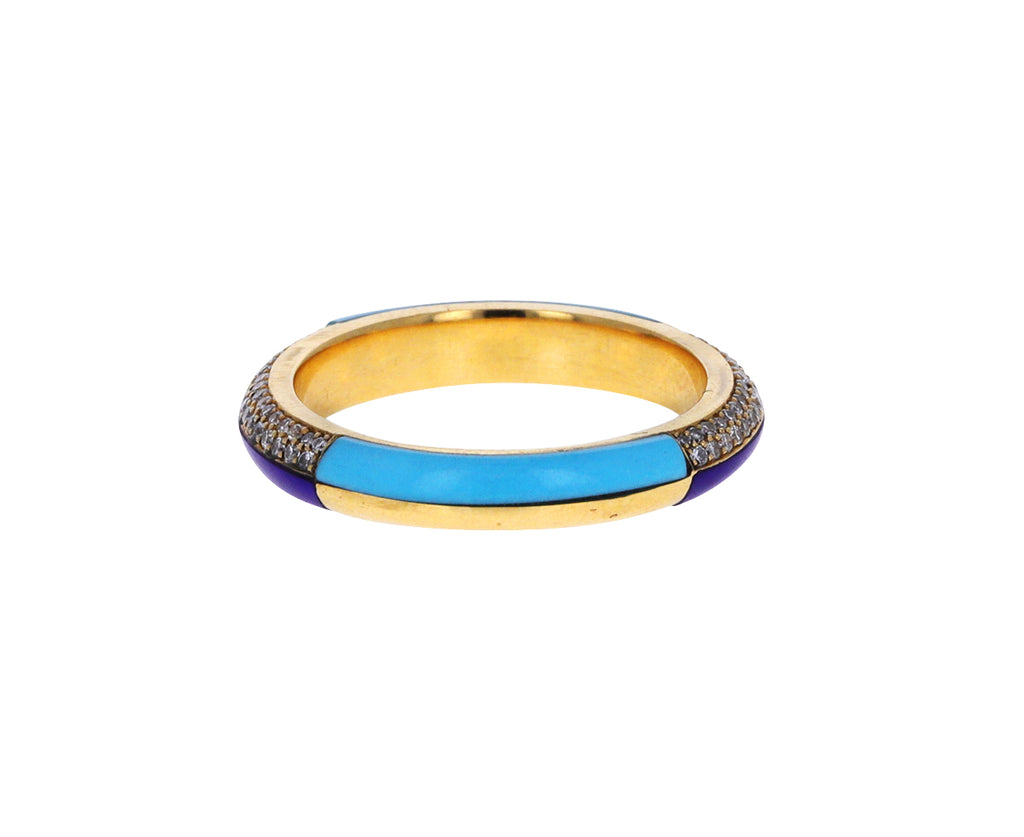 Turquoise and Lapis Inlay Ring with Diamonds