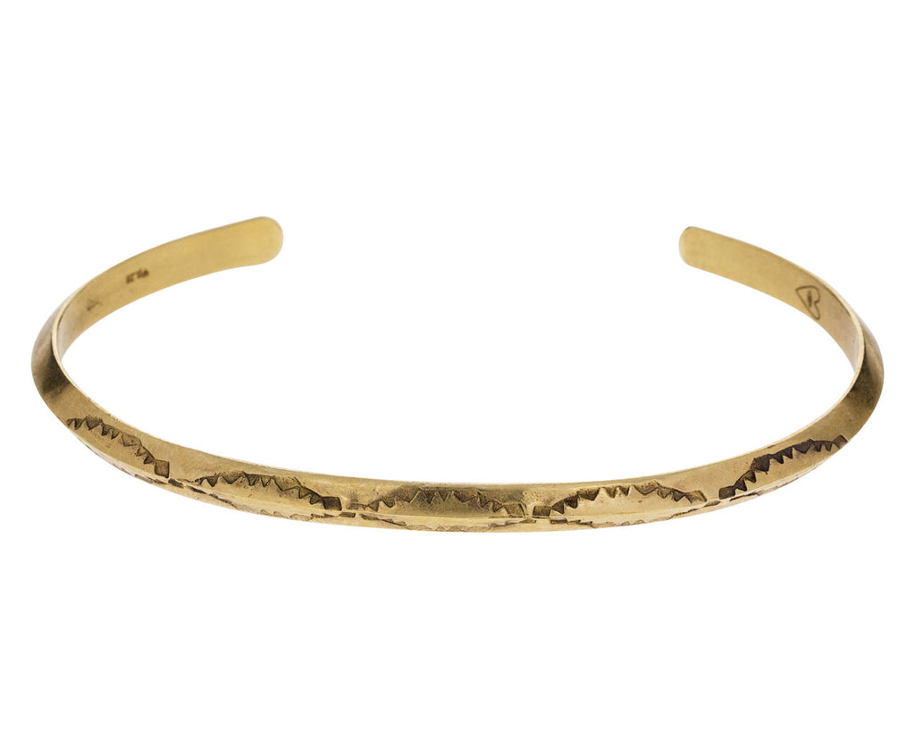 Thin Stamped Gold Cuff Bracelet