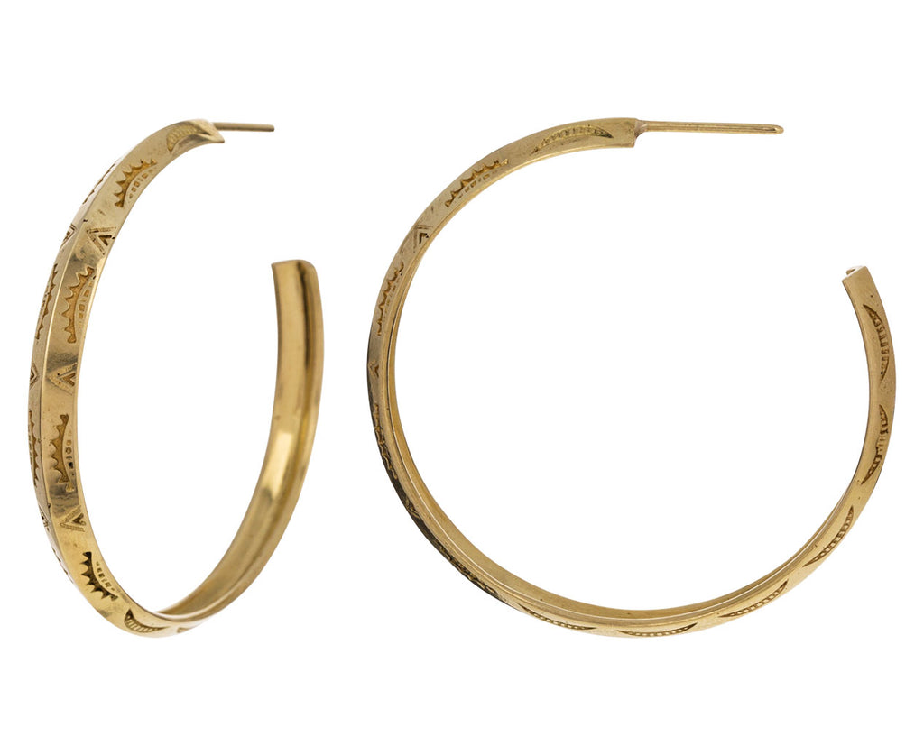 Stamped Gold Hoops