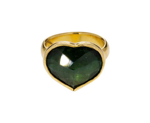 Green Tourmaline Heart Ring