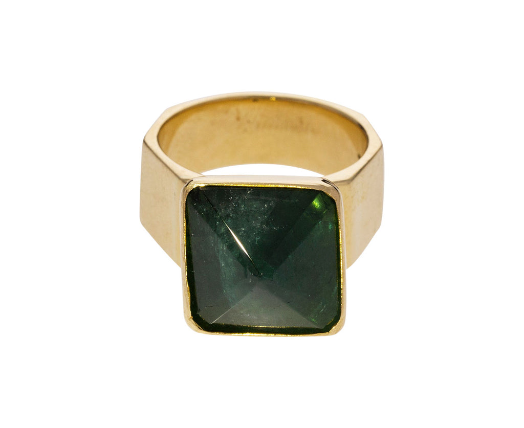 Green Tourmaline Movable Pyramid Ring