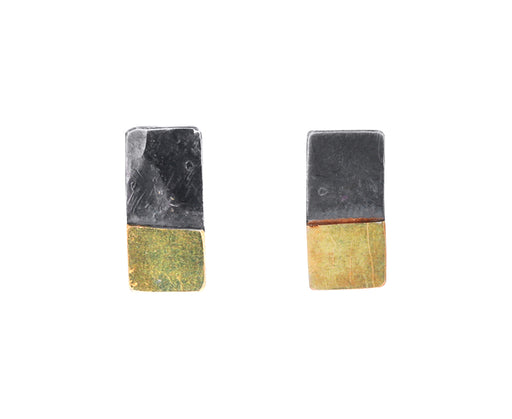 Silver and Gold Rectangular Stud Earrings