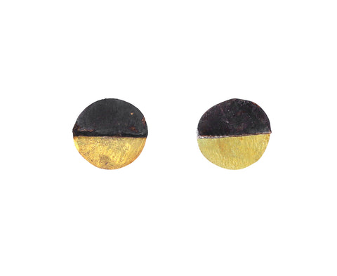 Mixed Metal Disc Stud Earrings