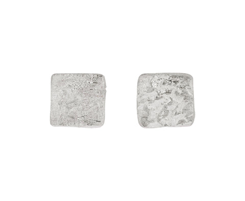 Silver Organic Texture Square Stud Earrings