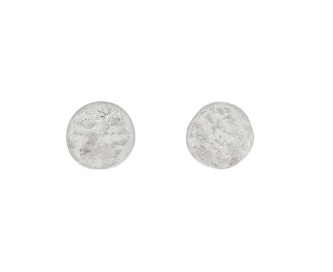 Silver Medium Disc Stud Earrings