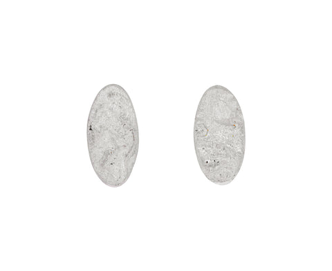 Silver Oval Organic Stud Earrings