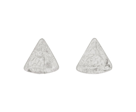 Silver Organic Texture Triangular Stud Earrings