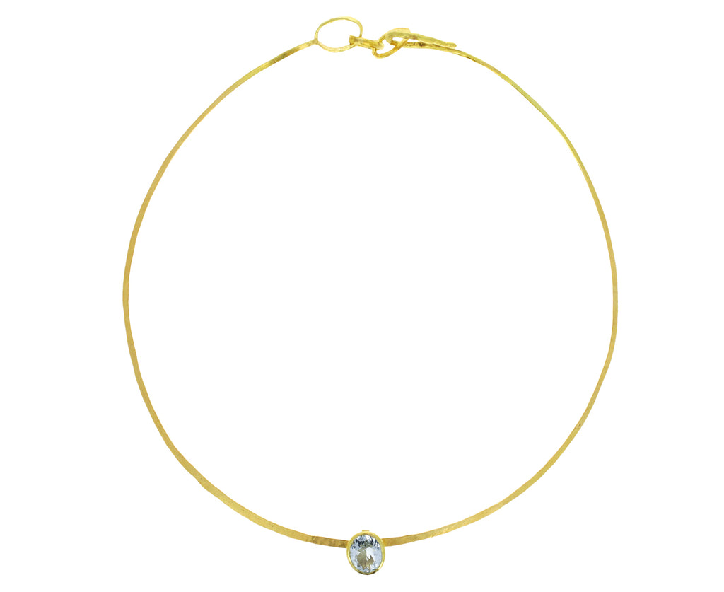 Gold Torque Necklace with Aquamarine
