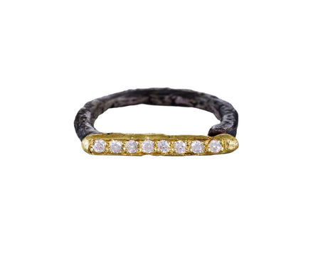 Gold and Diamond Linear Horseshoe Ring - TWISTonline