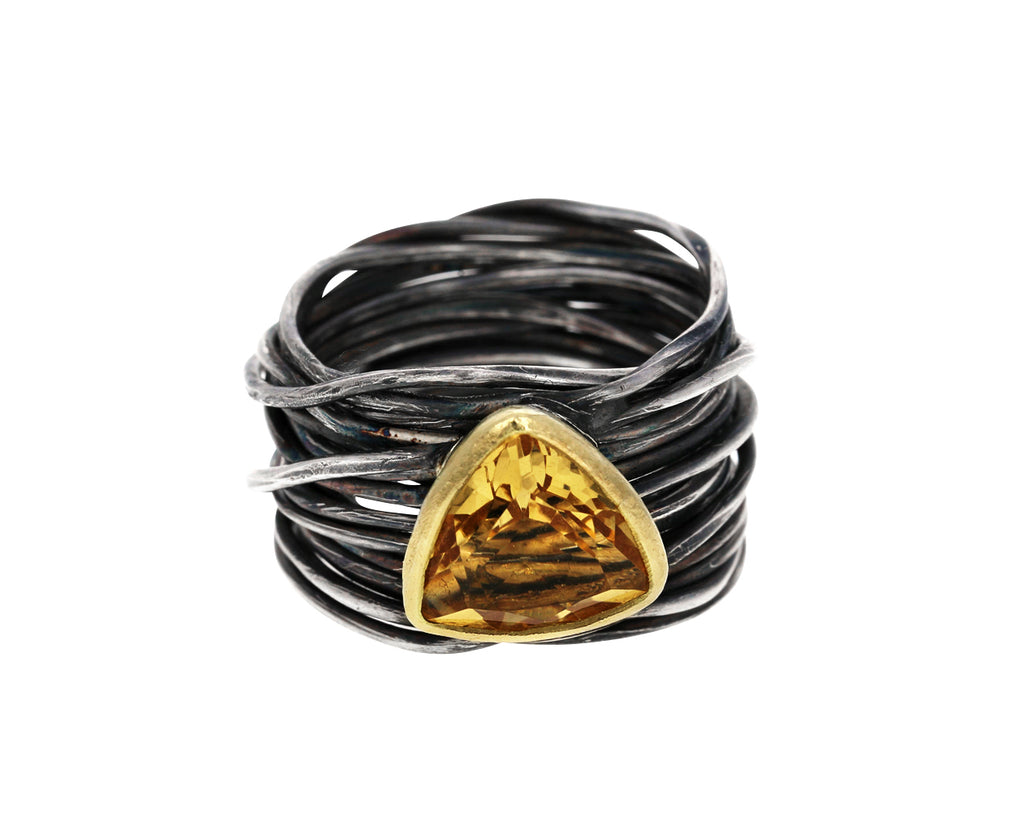 Oxidized Silver Spaghetti Ring with Citrine