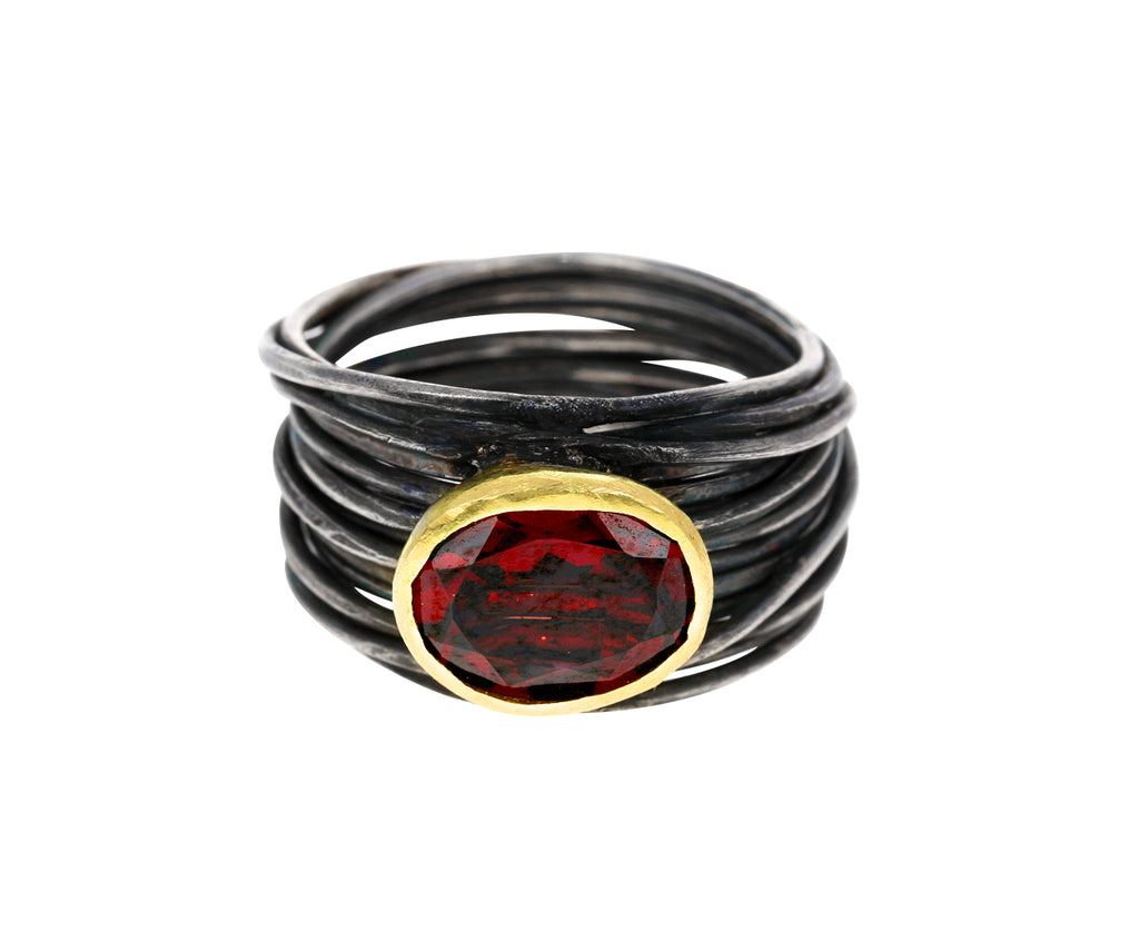 Oxidized Sterling Silver Spaghetti Ring with Garnet