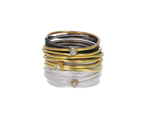 Mixed Metal Diamond Spaghetti Ring