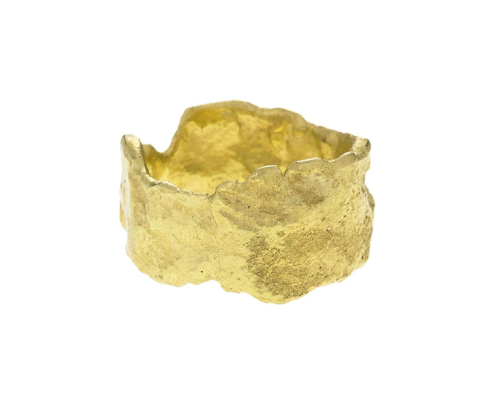 Hand Forged Gold Men's Ring zoom 1_disa_allsopp_gold_textured_plain_ring1