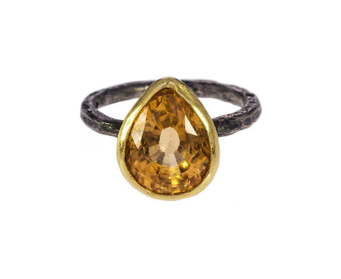 Gold and Silver Citrine Ring zoom 1_disa_allsopp_gold_pearl_shaped_citrine_ring