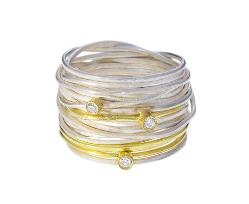 Diamond Gold and Silver Spaghetti Ring - TWISTonline