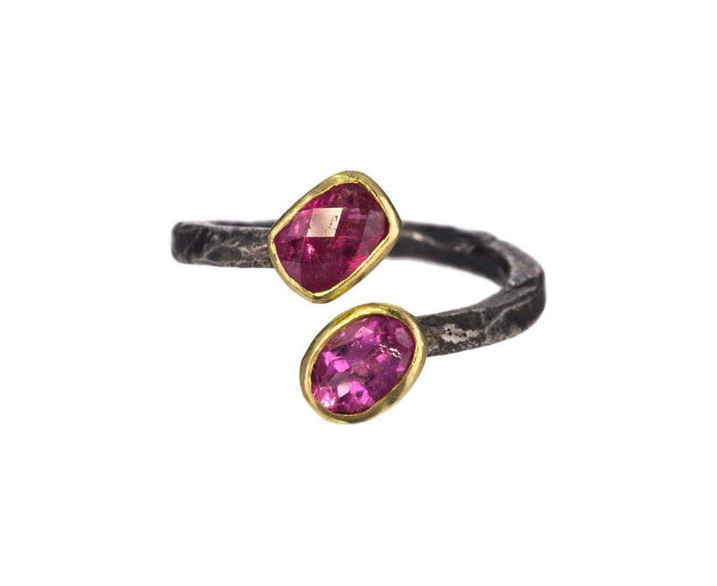 Pink Tourmaline Open Cuff Ring zoom 1_disa_allsopp_gold_double_pink_tourmaline_ring
