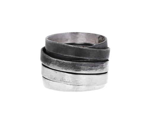 Mixed Silver Tagliatelle Ring
