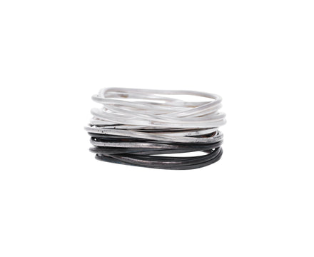 Half and Half Silver Spaghetti Ring