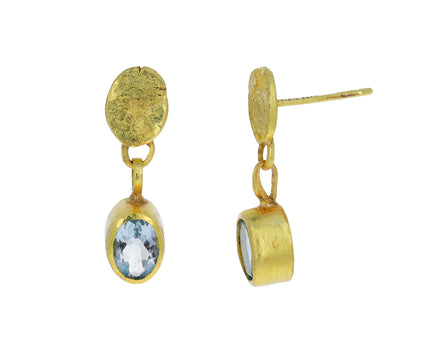 Gold Squash and Aquamarine Dangle Earrings