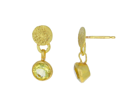 Gold Squash and Lemon Quartz Dangle Earrings