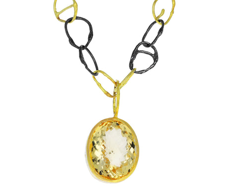 Mixed Metal and Citrine Pendant Necklace