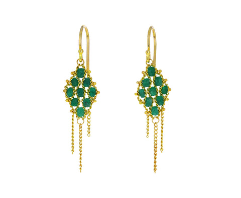 Emerald Textile Earrings