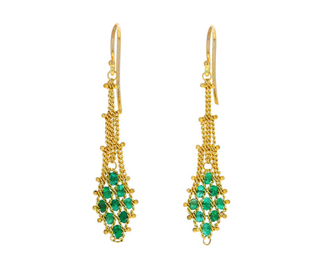 Emerald Textile Drop Earrings