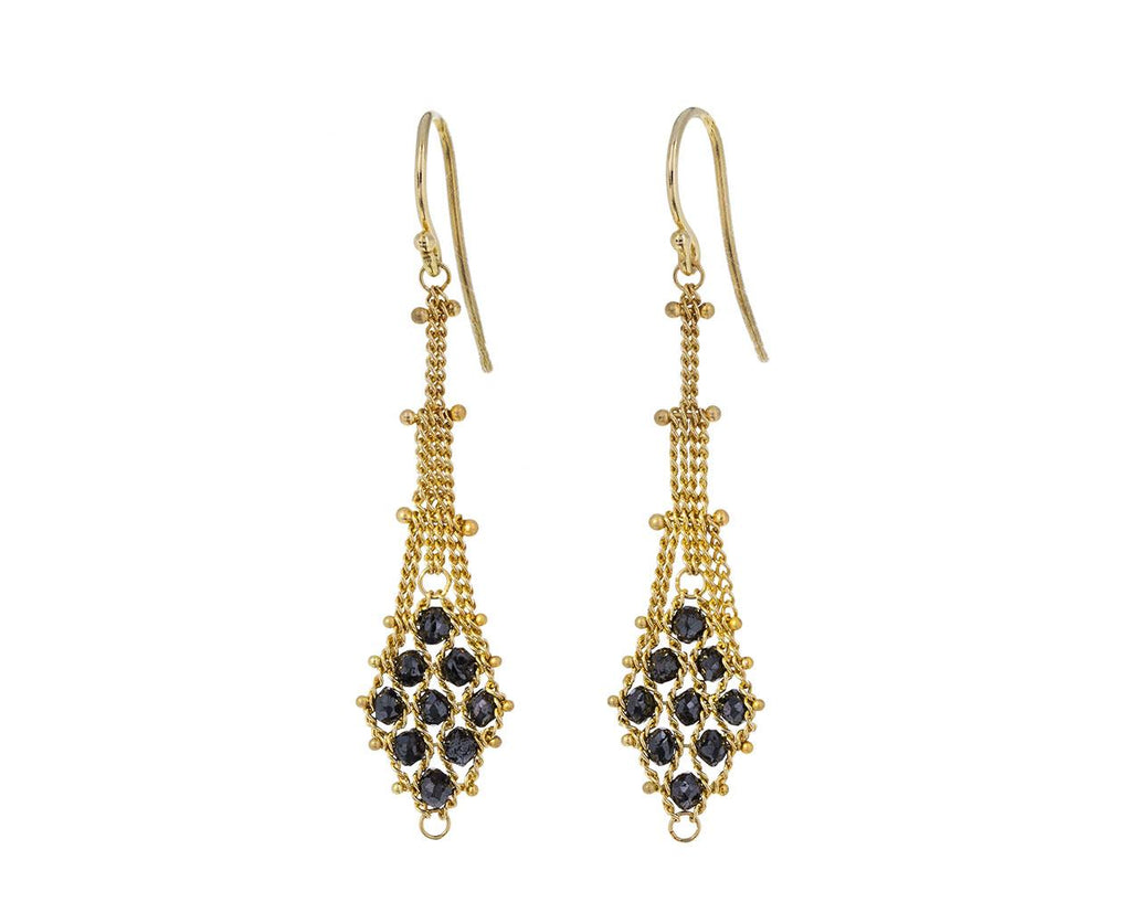 Woven Black Diamond Drop Earrings - TWISTonline