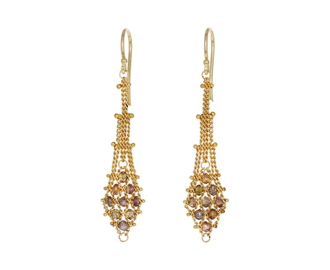 Champagne Diamond Textile Drop Earrings