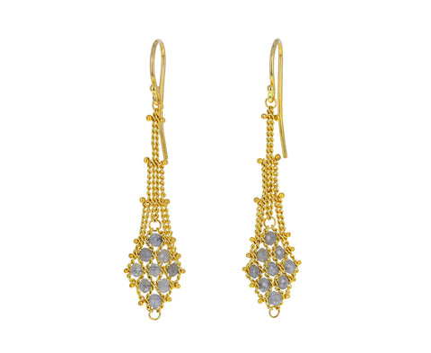 Silver Diamond Woven Textile Drop Earrings