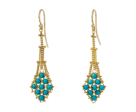 Woven Turquoise Drop Earrings