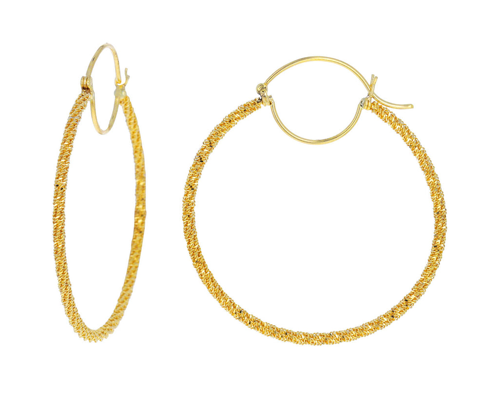 Large Gold Textile Hoop Earrings