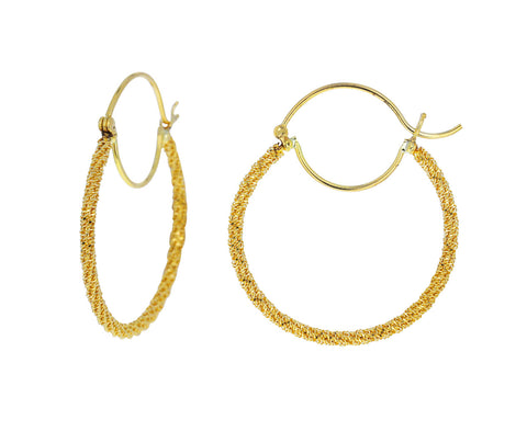 Gold Textile Hoop Earrings