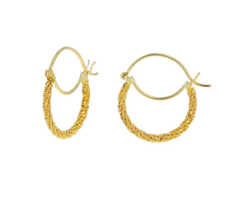 Gold Textile Mini Hoop Earrings