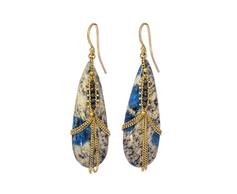 Diamond Draped Granite Azurite Earrings zoom 1_amali_gold_diamond_granite_azurite_earrings