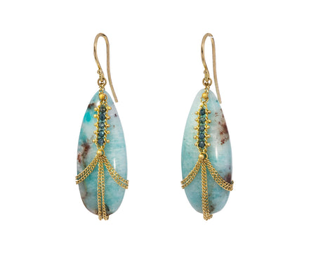 Diamond Draped Amazonite Earrings - TWISTonline
