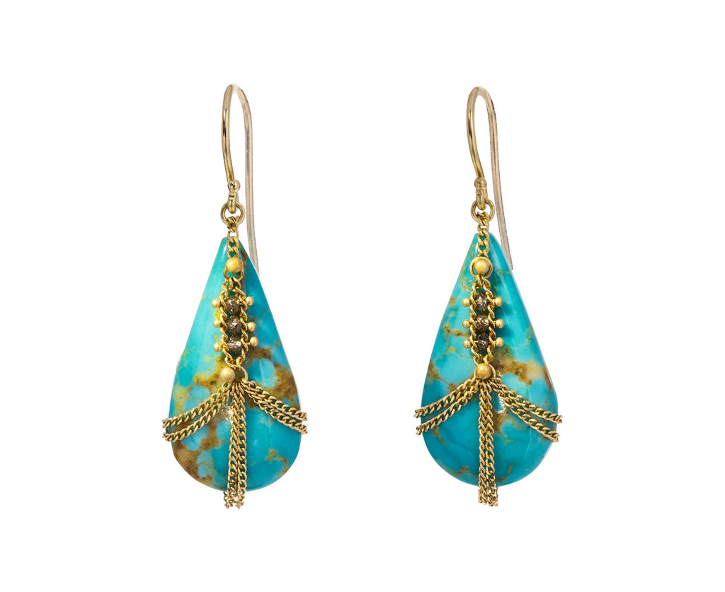 Diamond Draped Turquoise Earrings