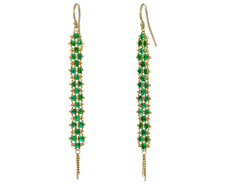Long Emerald Textile Earrings - TWISTonline