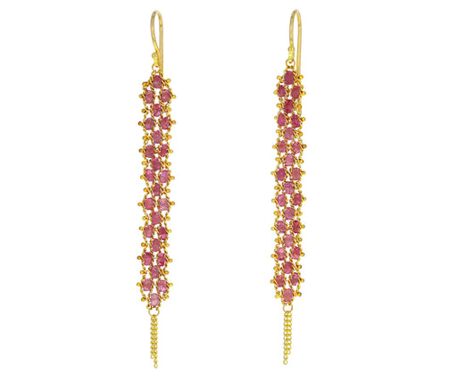 Long Pink Spinel Textile Earrings