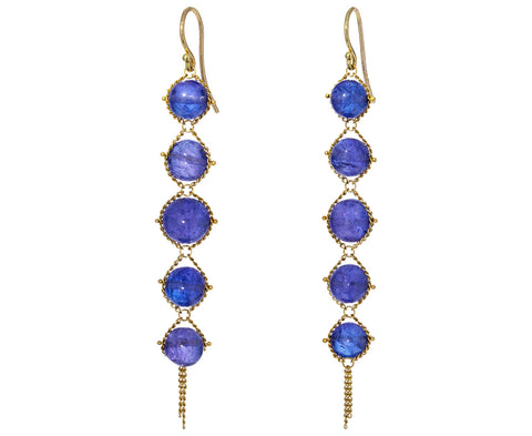 Graduated Tanzanite Textile Earrings