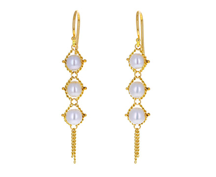 Pearl Textile Drop Earrings