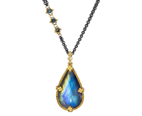 Moonstone and Blue Diamond Pendant Necklace - TWISTonline