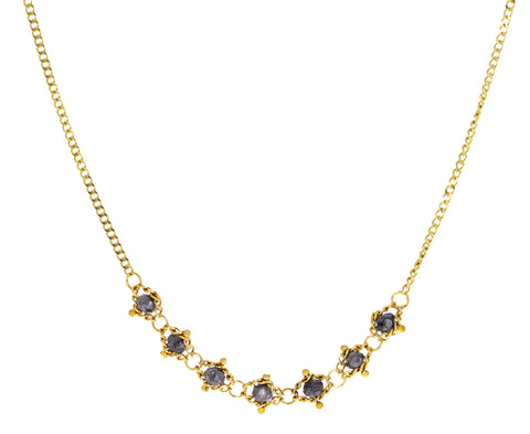 Gray Diamond Textile Necklace