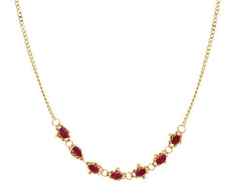 Ruby Textile Necklace