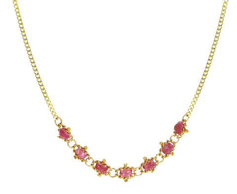 Pink Spinel Centered Textile Necklace