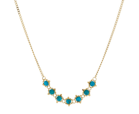 Turquoise Textile Station Necklace