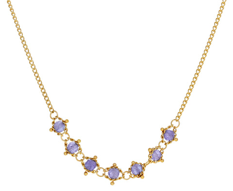 Tanzanite Centered Textile Necklace