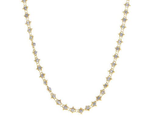 Mid-Length Gray Diamond Textile Necklace
