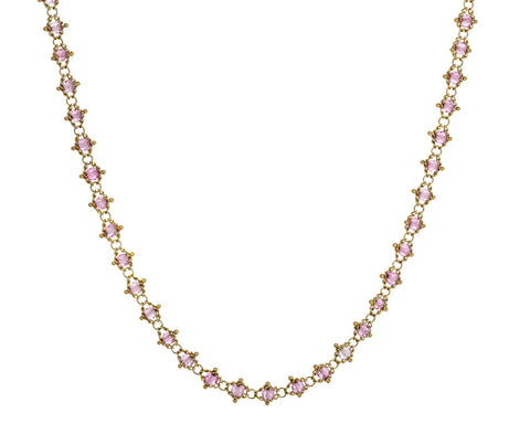 Pink Topaz Textile Necklace