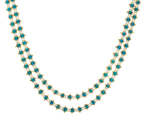 Long Turquoise Textile Necklace - TWISTonline